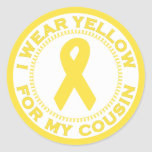 I Wear Yellow For My Cousin Classic Round Sticker