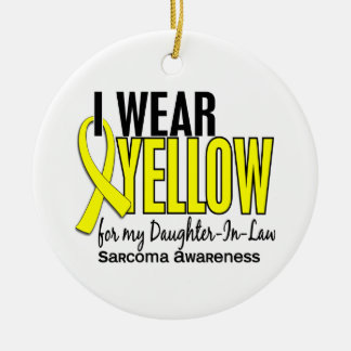 I Wear Yellow For My Daughter-In-Law 10 Sarcoma Double-Sided Ceramic Round Christmas Ornament