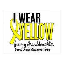 I Wear Yellow For My Granddaughter 10 Sarcoma Postcard