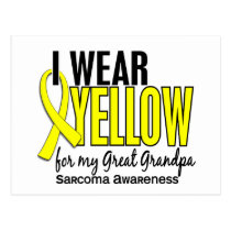 I Wear Yellow For My Great Grandpa 10 Sarcoma Postcard