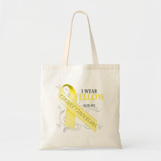 I Wear Yellow for my Great Grandpa Canvas Bags
