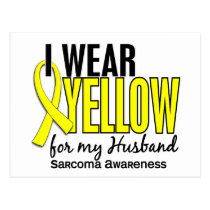 I Wear Yellow For My Husband 10 Sarcoma Postcard