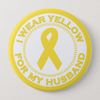 I Wear Yellow For My Husband Button