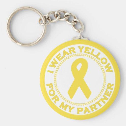 I Wear Yellow For My Partner Basic Round Button Keychain