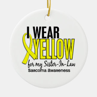 I Wear Yellow For My Sister-In-Law 10 Sarcoma Double-Sided Ceramic Round Christmas Ornament