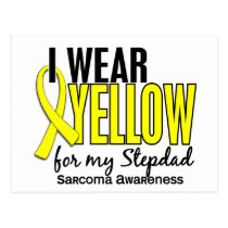 I Wear Yellow For My Stepdad 10 Sarcoma Postcard