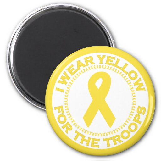 I Wear Yellow For The Troops 2 Inch Round Magnet