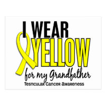 I Wear Yellow Grandfather 10 Testicular Cancer Postcard