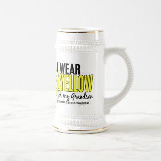 I Wear Yellow Grandson 10 Testicular Cancer 18 Oz Beer Stein