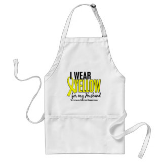 I Wear Yellow Husband 10 Testicular Cancer Adult Apron