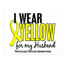 I Wear Yellow Husband 10 Testicular Cancer Postcard