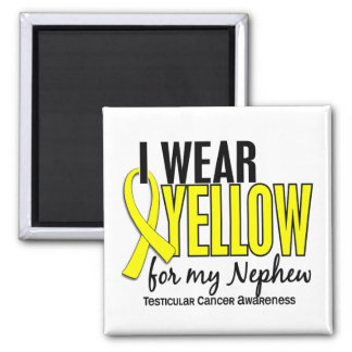I Wear Yellow Nephew 10 Testicular Cancer 2 Inch Square Magnet