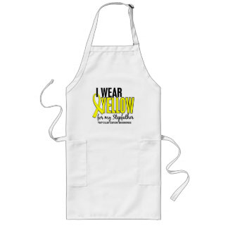 I Wear Yellow Stepfather 10 Testicular Cancer Long Apron