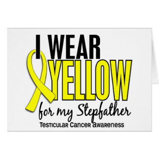 I Wear Yellow Stepfather 10 Testicular Cancer Greeting Cards