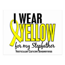 I Wear Yellow Stepfather 10 Testicular Cancer Postcard