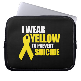 I wear yellow to prevent suicide - laptop computer sleeve