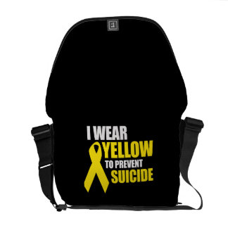 I wear yellow to prevent suicide - messenger bag