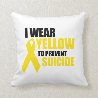 I wear yellow to prevent suicide throw pillows