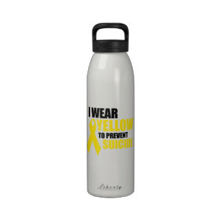I wear yellow to prevent suicide reusable water bottles