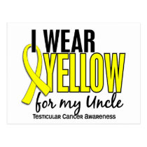 I Wear Yellow Uncle 10 Testicular Cancer Postcard