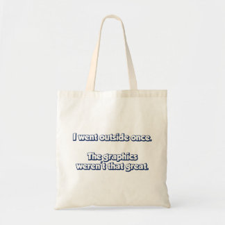 I Went Outside Once Graphics Weren t Great Canvas Bag