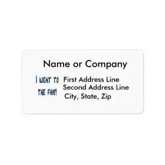 I went to the fair! Blue fair promo, 3D effect Personalized Address Label