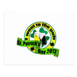 I went to the pub St. patrick's day  yellow green Postcard