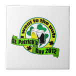 I went to the pub St. patrick's day  yellow green Ceramic Tile
