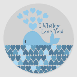 I Whaley Love You! Blue Classic Round Sticker