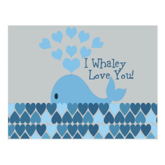 I Whaley Love You! Blue Postcard
