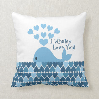 I Whaley Love You! Blue Throw Pillow