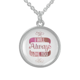 I will Always Love You Pink Sterling Silver Necklace