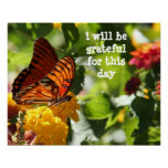 i will be grateful for this day, butterfly poster