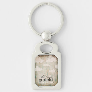 I Will Be Grateful For This Day | Storm Clouds Silver-Colored Rectangular Metal Keychain