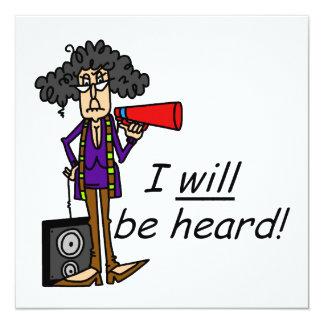 I WILL Be Heard 5.25x5.25 Square Paper Invitation Card
