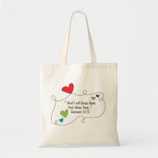 I will bless them Genesis 12:3 Christian Hearts Tote Bag