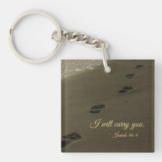 I Will Carry You Sand Footprints Keychain