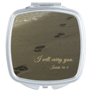 I Will Carry You Sand Footprints Makeup Mirror
