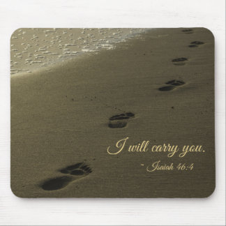 I Will Carry You Sand Footprints Mouse Pad