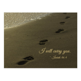 I Will Carry You Sand Footprints Postcard