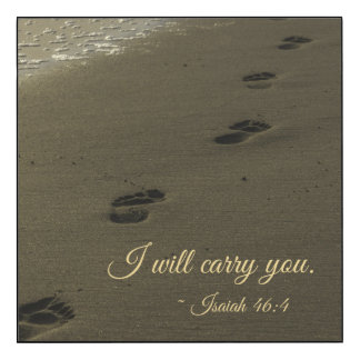 I Will Carry You Sand Footprints Wood Print