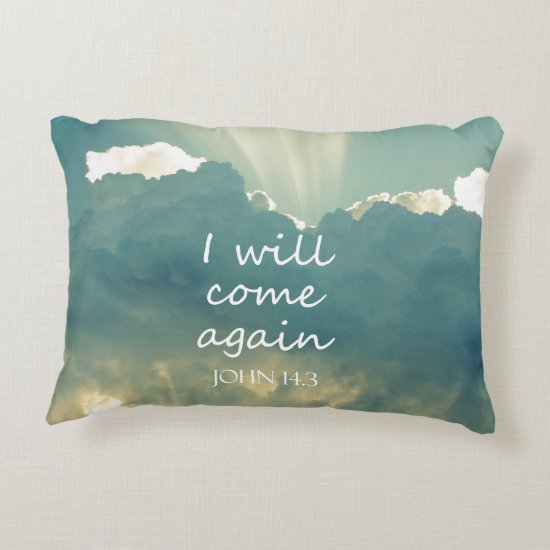 I Will Come Again Bible Verse Decorative Pillow