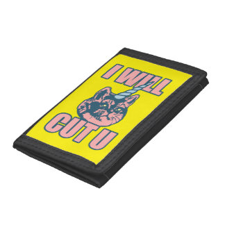 I Will Cut You Kittycorn Trifold Wallet