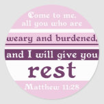 I Will Give You Rest Round Sticker