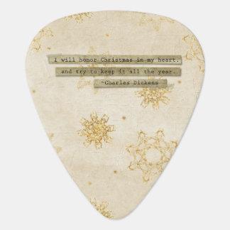 I will HOnor Christmas Charles Dickens Snowflake Guitar Pick