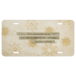I will HOnor Christmas Charles Dickens Snowflake License Plate