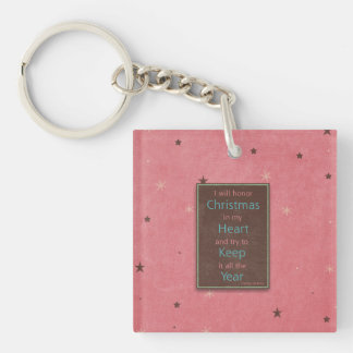 I Will Honor Christmas Pink Brown Design Keychain
