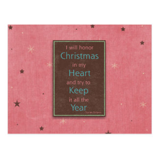 I Will Honor Christmas Pink Brown Design Postcard