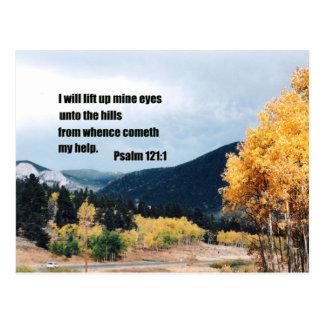 I will lift up mine eyes unto the hills... postcard