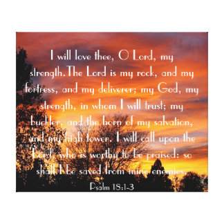 I will love you O Lord bible verse Psalm 18:1-3 Stretched Canvas Print